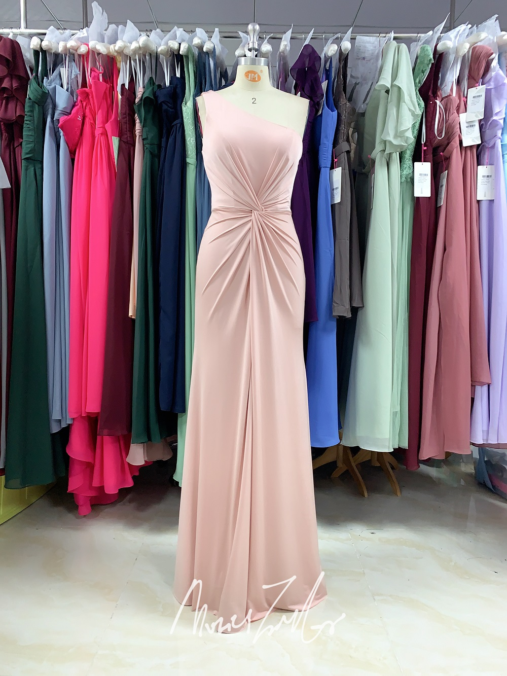 soft pink Stretch fabric Evening Dress 2020 one shoulder Pleats Sequins True picture luckgirls prom dress mocini tailor