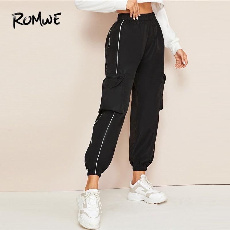 ROMWE Contrast Piping Trim Side Pockets Cargo Pants Women Streetwear Casual Elastic Cuff Black Pants Autumn High Waist Pants