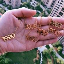 Colar feminino de ouro e aço inoxidável, colares para nascidos, ano de nascimento, números, 1999