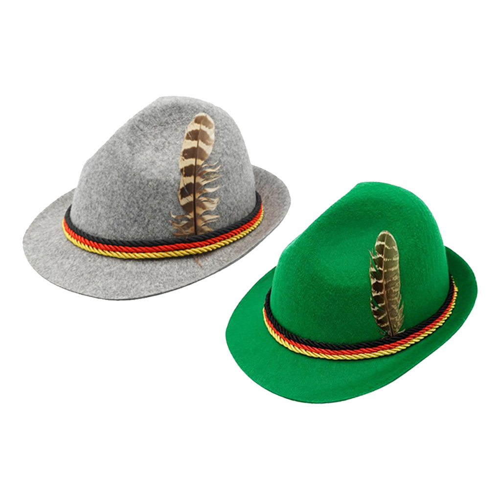 German Oktoberfest Fedora Traditional Wool Felt Costume Hat with Feather for Adults Novelty Fancy Dress Panama Hat Headwear