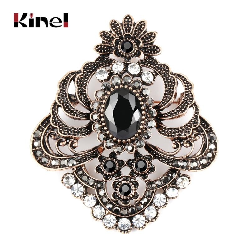 Kinel Vintage Black Brooch Pins Collar