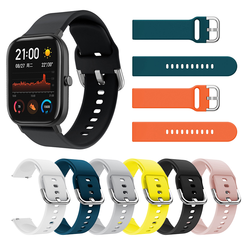 Smart Watch Band Flat Head Pure Color Multicolor Silicone Concealed Strap Replacement Accessories For Huami Amazfit GTS 20mm