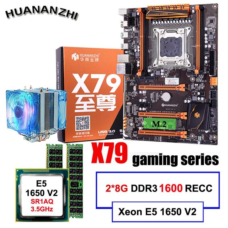 Discount Desktop Motherboard HUANANZHI Deluxe X79 Motherboard With CPU Intel Xeon E5 1650 V2 With Cooler RAM 16G(2*8G) REG ECC