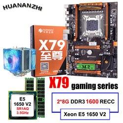Zniżka płyta główna pulpitu HUANANZHI Deluxe X79 płyta główna z procesorem intel xeon E5 1650 V2 z chłodnicą RAM 16G (2*8G) REG ECC w Płyty główne od Komputer i biuro na