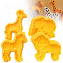 4Pcs Zoo Animal Shape Lion Giraffe Zebra Elephant Cookie Biscuit Plunger Cutters Mold Cake Decorating Baking Tools Sugarcraft