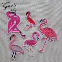 Hot Brand New Flamingo Multi-design Embroidered Iron on Patches for Clothing Bags DIY Stripes Clothes Stickers Custom Badges