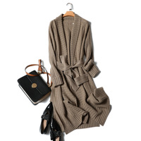 Ka sana Exta long Thick Pure Cashmere Cardigan Loose Fit Coat Women's Spring And Autumn New Style Korean style Laziness Knitted