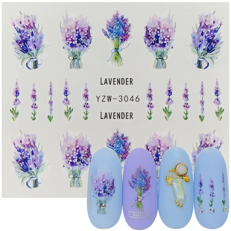 1pcs Lavender Bouquet Design Water Transfer Nail Art Sticker For Nails Slider Decal Decor Charm Manicure Tools