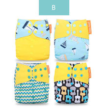 Puseky 2019 New 4pcs/set Washable Eco-Friendly Cloth Diaper Adjustable Nappy Reusable Cloth Diapers Fit 0-3years 3-15kg baby(China)