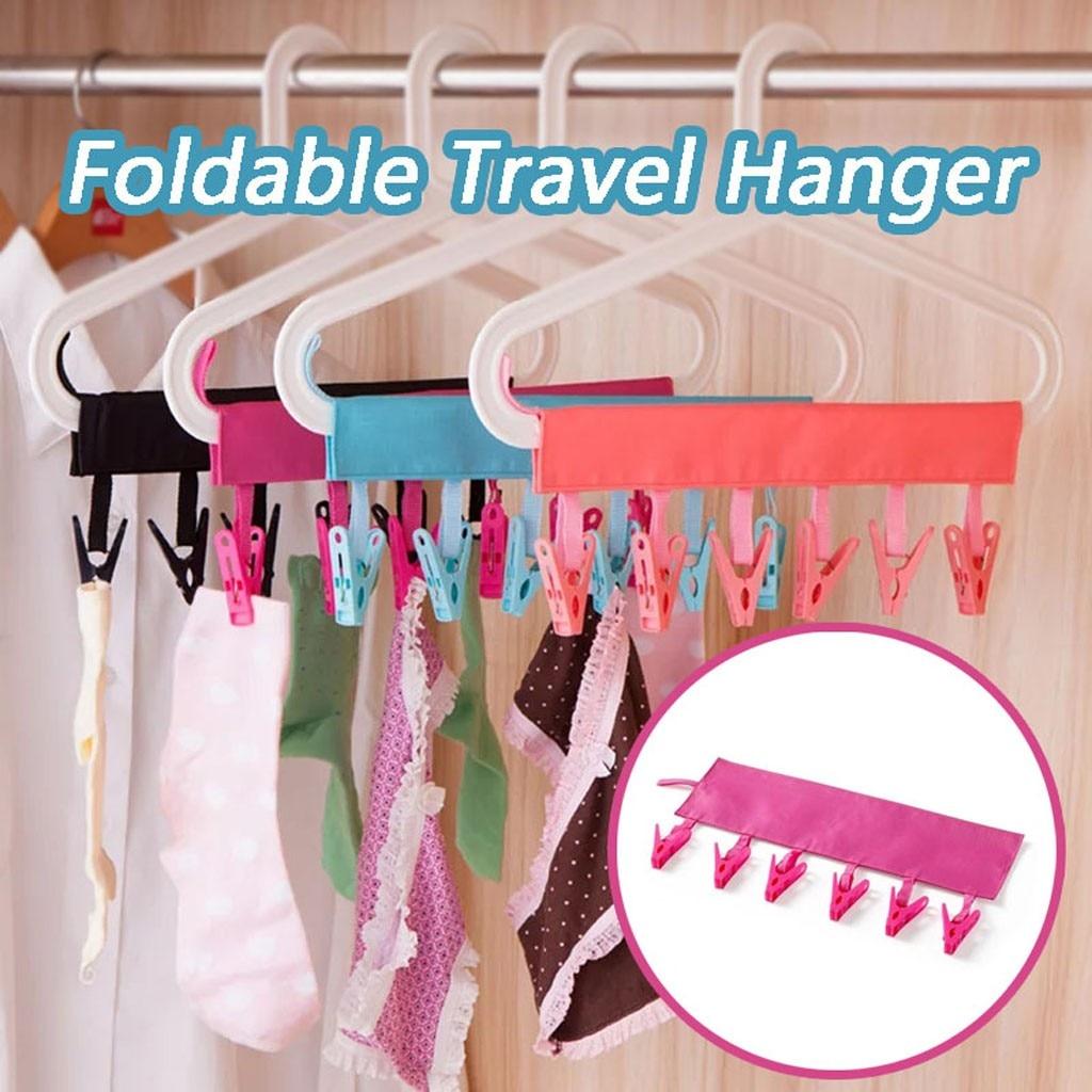 Bathroom Rack Clothespin Portable Travel Cloth Hanger Foldable Clothes Clips S