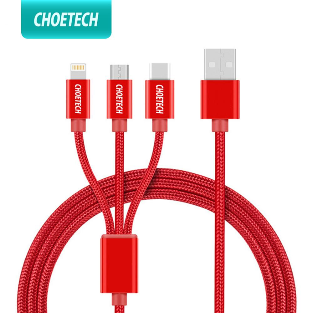 CHOETECH 3 in 1 <font><b>Usb</b></font> <font><b>Cable</b></font> Multiple Charging Micro Type C <font><b>Cable</b></font> <font><b>3in1</b></font> Mobile Phone <font><b>USB</b></font> <font><b>Cables</b></font> For iPhone 8 Plus samsung xiaomi image