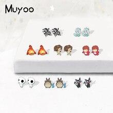 Boucles d'oreilles Ponyo sur la montagne en résine acrylique, dessin animé, princesse Mononoke Totoro, mignon, cadeau pour enfants, nouveau, 2020