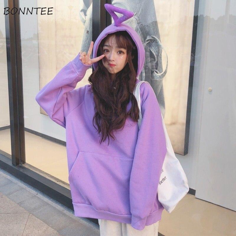 Hoodies Women Solid Trendy Kawaii Hooded Plus Velvet Sweatshirts Korean Style Student All-match Long Sleeve Womens Warm Casual
