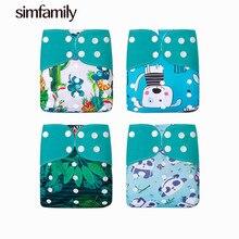 [Simfamily] 4 pçs/set reutilizável lavável pano fralda capa ecológica ajustável eco-friendly apto 3-15kg bebê