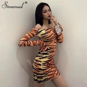 Simenual Tiger Drucken Sexy Frauen Bodycon Kleid Off Schulter Lange Hülse Dünne Heiße Party Mini Kleider Mode 2020 Frühling Clubwear