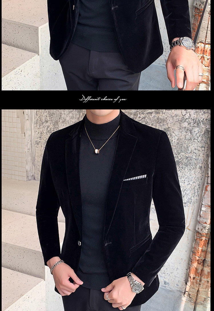 H55f1dbddffa647c795501f24fc2b92f8O - Autum Velvet Wedding Dress Coat Mens Blazer Jacket Fashion Casual Suit JacketStage DJ Men's Business Blazers Veste Costume Homme