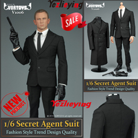 VORTOYS V1006 1/6 Scale Action Figure Accessory 007 Agent Male Clothes Black Windbreaker Coat Suit For 12 Inch Hottoys Body Doll