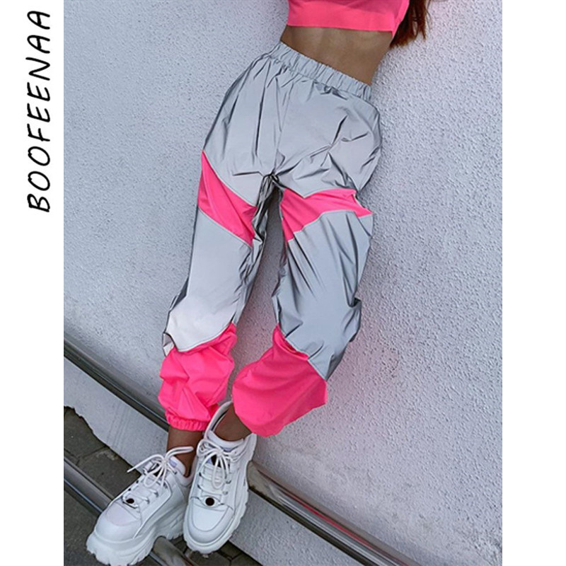 BOOFEENAA Fashion Joggers Women Harem Pants Reflective Neon Panelled Causal Fall Winter Trousers Streetwear Sweatpants C70-AC57
