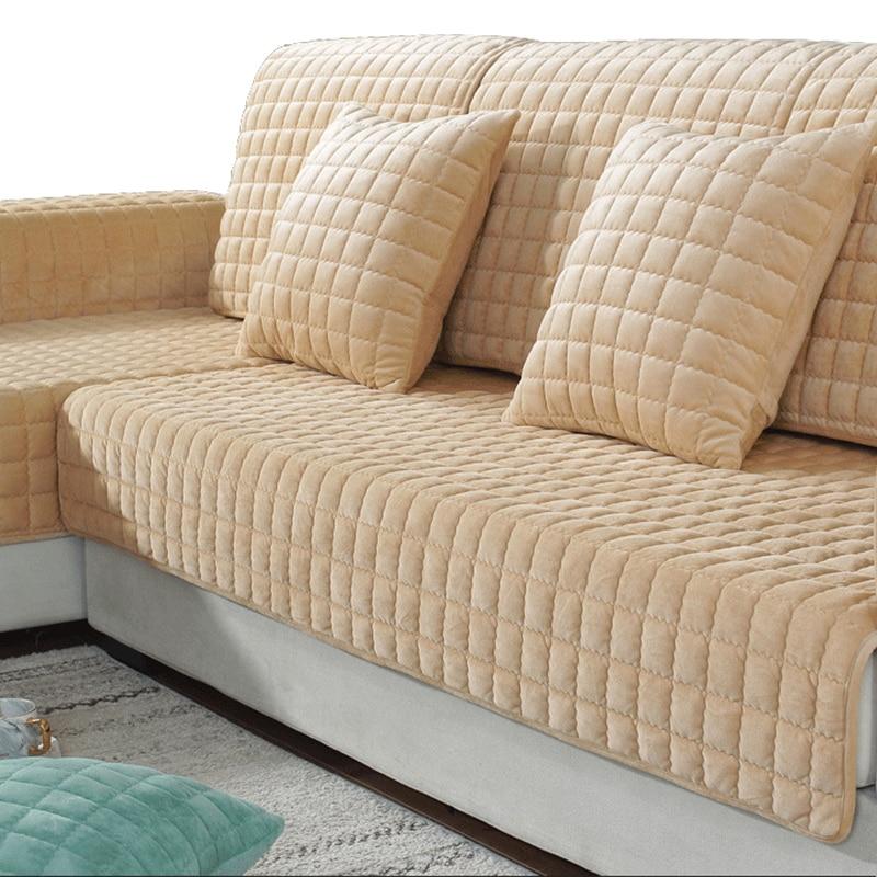1 Piece Sofa Covers For Living Room Gray Coffee Beige Plush Soft Sofa Cushion Couch Cover Modern Minimalist Corner Sofa Towel