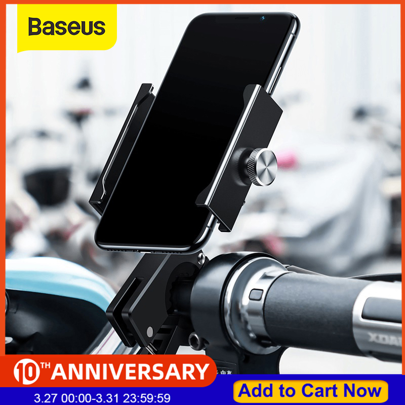 Baseus Bicycle Phone Holder For IPhone 11 X XS Samsung S9 S10 360 Degree Rotation Mount Bracket Aerial Motorcycle Phone Holder