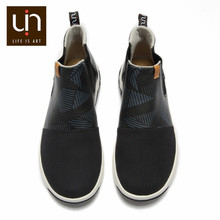 UIN Dr Ken Series Black Ankle Boots for Women/Men Casual Flat Boots Microfiber Suede/Leather Slip-on Outdoor Shoes Autumn/Winter(China)