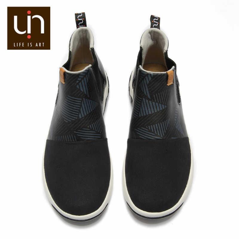 UIN Dr Ken serisi siyah yarım çizmeler kadınlar/erkekler rahat düz çizmeler mikrofiber süet/deri Slip-on açık ayakkabıları sonbahar/kış