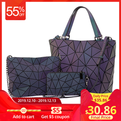 Lovevook feminina bolsa de ombro luxo conjunto dobrável totes crossbody bolsa feminina e carteira para senhoras luminosa geométrica