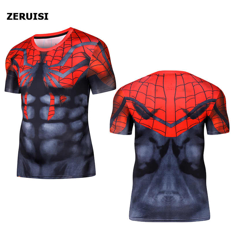 Korte Mouw 3D T-shirt Mannen T-Shirt Man Crossfit Tee Captain America Superman tshirt Mannen Fitness Compressie Shirt Punisher MMA