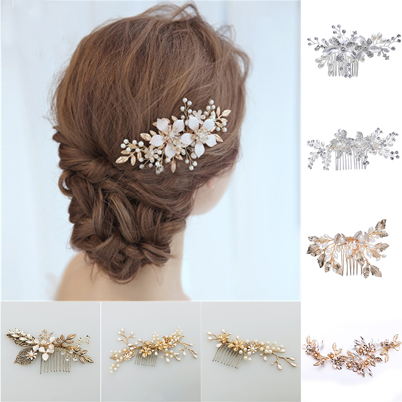 Metal Leaf Bridal Hair Comb Flowers Women's Jewelry Accessories Beauty Handmade Bride Headwear Gold Headcomb Charms Headdress