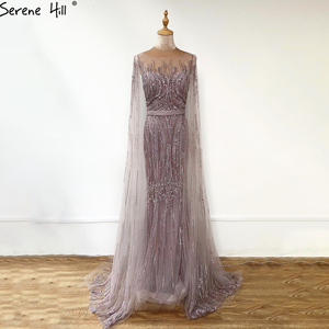 Image 5 - Serene Hill Dubai Vestido largo de noche con mangas y capa, rosa de lujo, con abalorios de sirena, vestido Sexy de fiesta, CLA70160, 2020