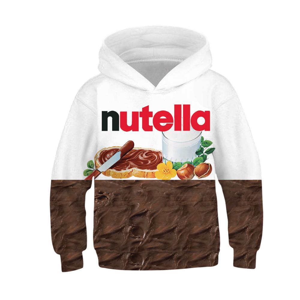 Girls Sweatshirts Pullovers Food Hoodies Kids Clothes Nutella Autumn Boys Children 3D