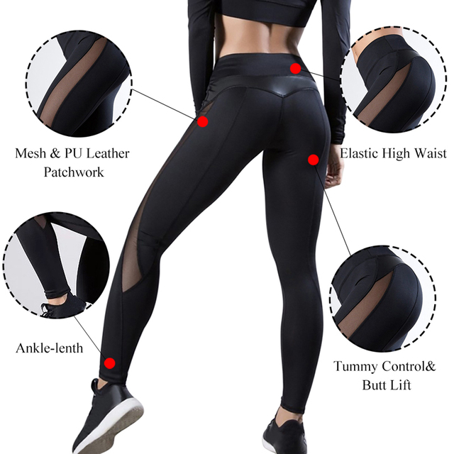 2020 Women Leggings Sexy Mesh Pants Push Up Fitness Gym Leggins Running Leggins Seamless Workout Pants Femme High Waist Mujer 3