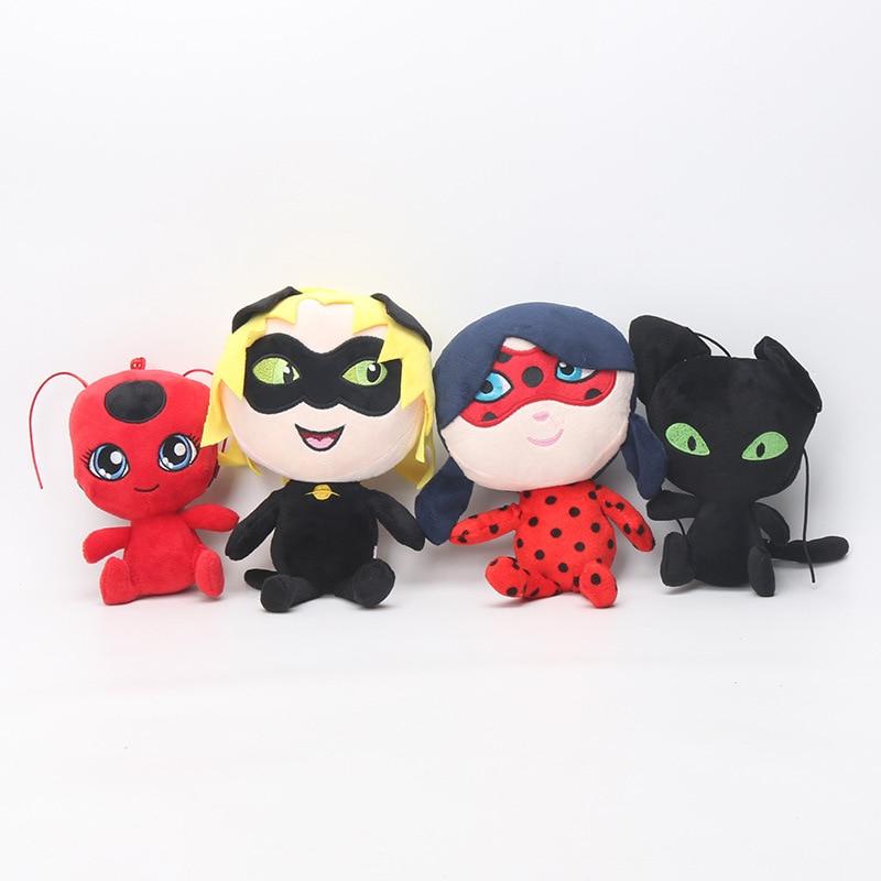 30cm/20cm/15cm  Ladybug Cat Plagg Tikki Noir Plush Pendant Clip Keychain Lady Bug Adrien Plush Toy Doll