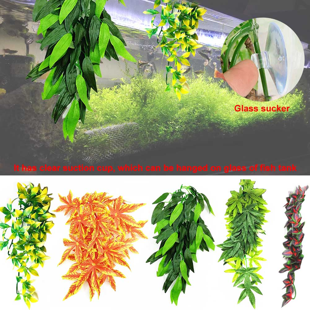 12 Inch Artificial Vine For Reptile Pet Supplies Fake Realistic Hanging Fish Tank With Suction Cup Simulated Plant Plastic DIY