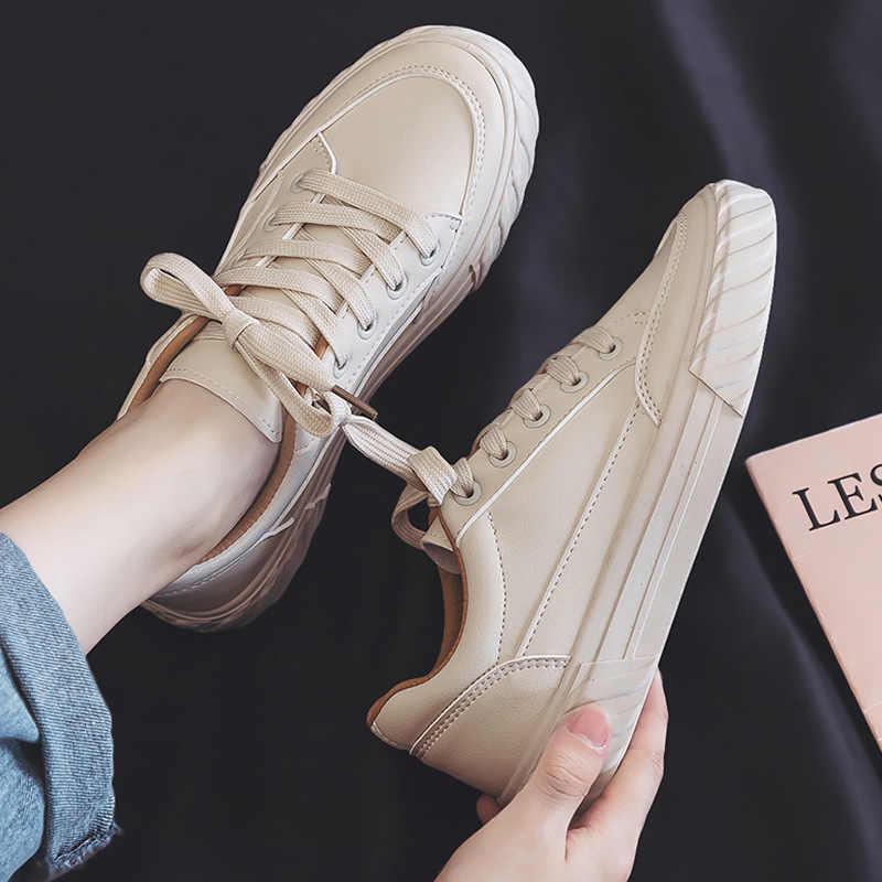 Baskets en cuir blanches unisexes pour femmes, chaussures d'école, nouvelle collection d'automne, 2020