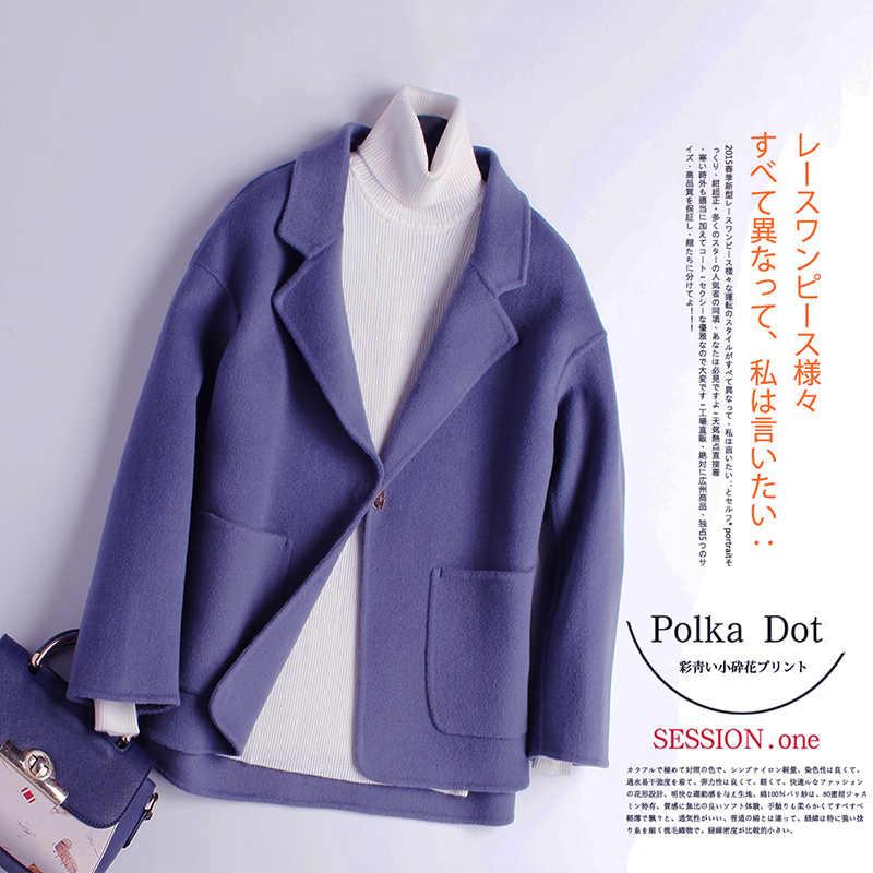 Płaszcz zimowy kobiety jesień 100% wełna płaszcz dwustronna kaszmirowa kurtka damska wełniana Casaco Feminino Hiver 9086