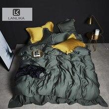 Lanlika 100% verde conjunto de cama seda beleza dupla rainha rei capa edredon linho lençol fronha frete grátis