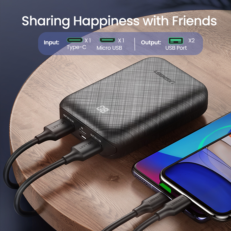 Ugreen power Bank 10000 мАч портативное зарядное устройство Внешняя батарея для мобильного телефона быстрое зарядное устройство для Xiaomi samsung S10 Mini power ...