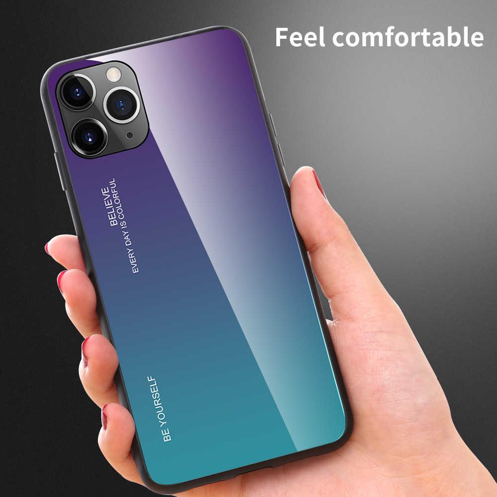 OTAO Gradiënt Gehard Glas Case Voor iPhone 11 Pro MAX X XR XS 9H Beschermende Glas Cover Voor iPhone X 7 8 6 6s Plus 7Plus Coque