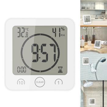 Cyfrowe zegary łazienkowe termometr higrometr Lcd przyssawka wodoodporny prysznic zegarki miernik temperatury i wilgotności Alarm tanie i dobre opinie Zegary ścienne