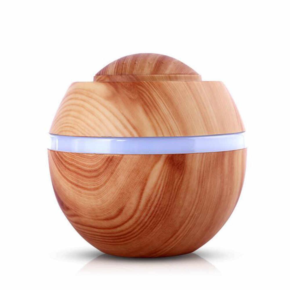 Umidificador de ar ultrassônico usb 500ml, difusor de aroma óleo essencial com grão de madeira luz de led com 7 cores para casa e escritório c4 c4