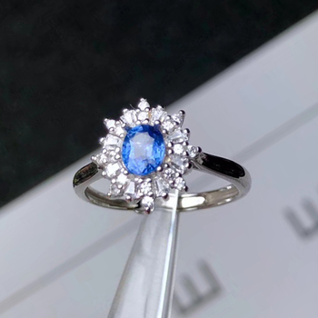 CoLife Jewelry 100% Natural Sapphire Wedding Ring 4*5mm Blue Sapphire Ring 925 Silver Sapphire Jewelry Brithday Gift for Woman