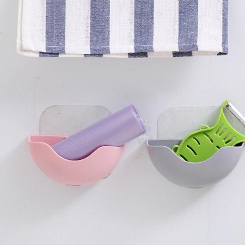 Etagères de rangement salle de bain porte-panier eponge plat cuisine boite plastique brosse à dents ventouse porte savon de douche