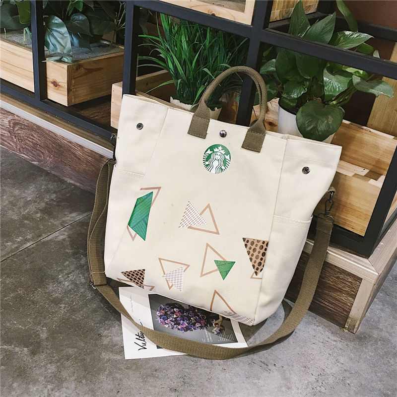 new European and American fashion literary handbag canvas bag Starbucks handbags casual shoulder slung female student cloth bag