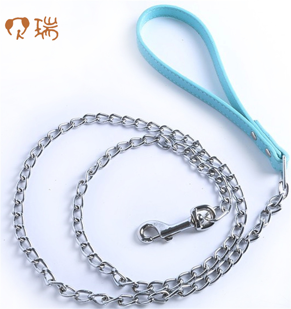 Anti-Bite Iron Chain Pet Traction Rope Pu Handle Slender Iron Chain Small Dog Chain Berry Pet Supplies