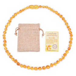 Cross Border Hot Sales Natural Baltic Amber Necklace Baby Molar Pendant Children Teething Necklace Ornament Wholesale