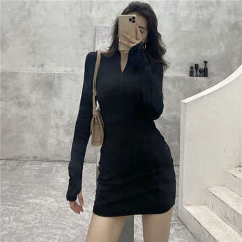 Fashionable super love knit tightEuropean and American style basic skinny sexy zipper long-sleeved bag hip bottoming dress skirt
