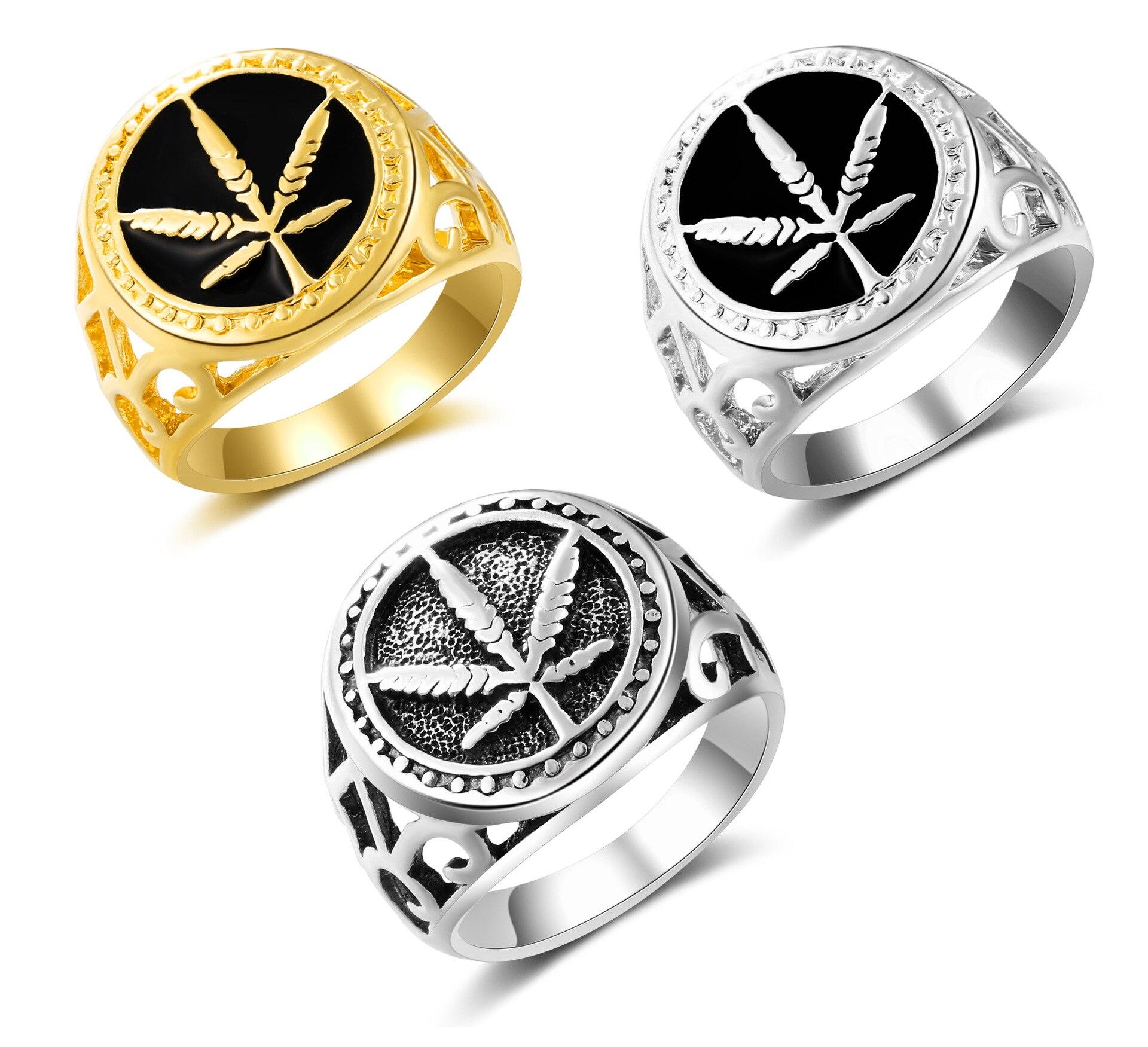 Мужской Перстень в готическом панк стиле, винтажный перстень с круглым Кленовым листом, ювелирное изделие
