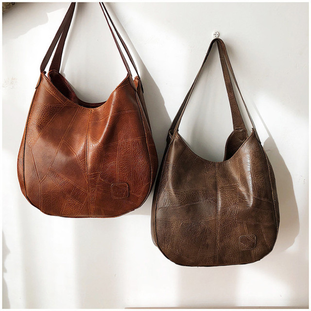 Женская кожаная сумка с ручками и тремя отделениями 4