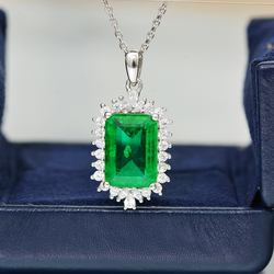 2020 Fashion Brand Luxury Big Green Zircon Pendant necklace Sparkling AAA CZ Wedding Engagement party jewelry Gift Dropshipping
